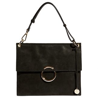 Karen Millen Leather O Ring Flapover Shoulder Bag