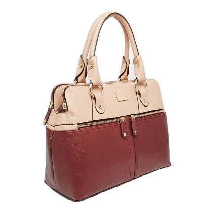Modalu Pippa: Red Mix Leather Mini Tote MH4583 CLARET MIX