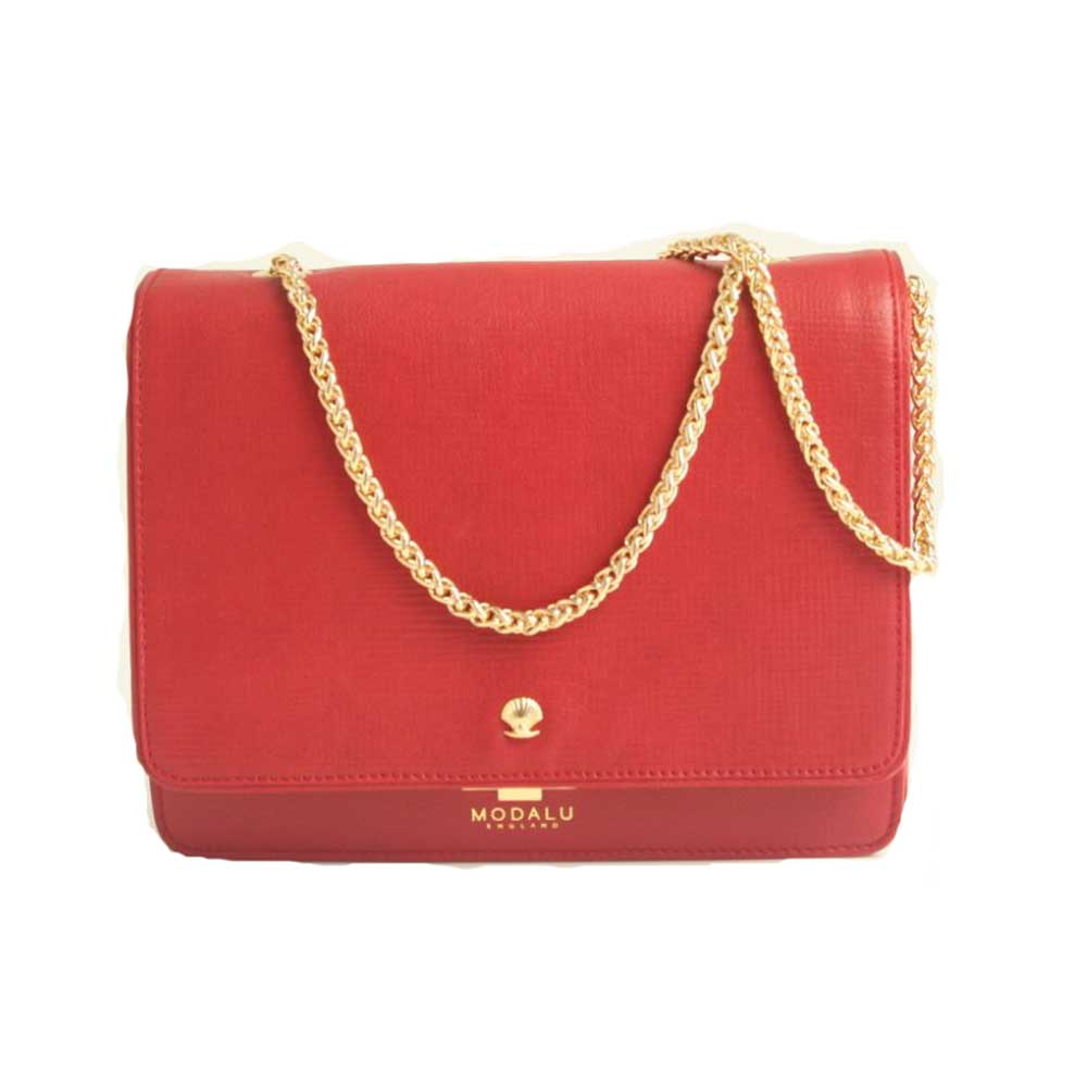 Modalu Mila: Red Small Shoulder Bag MH4711 ROUGE RED