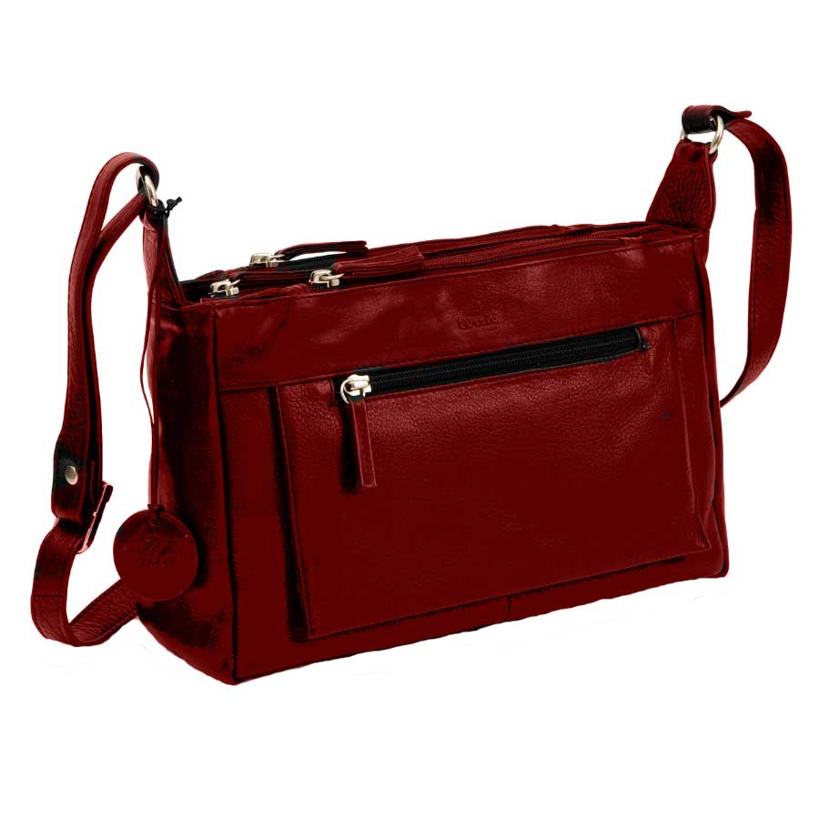 LUCCIO Ladies Red Leather Shoulder Bag BMB007RED