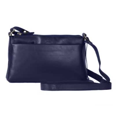 LUCCIO Ladies Navy Leather Shoulder Bag BMB079NVY