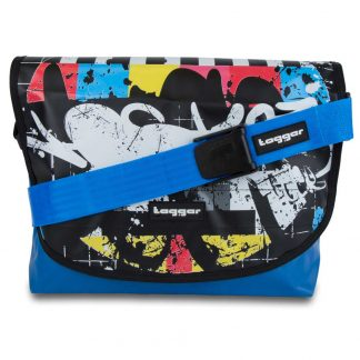 Tagger Blue Graffiti Complete Shoulder Bag 5001-BLU-BLK-BLU