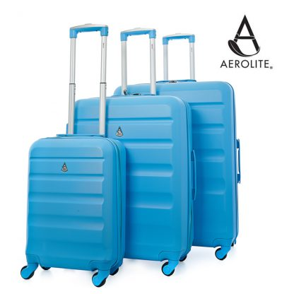 "Aerolite ABS325 ABS Hard Shell Suitcase 3-Piece Set 21""/25""/29"" Blue"