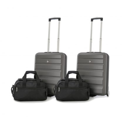 Set of 4: 2 x Aerolite Hard Shell Suitcase 55x40x20cm & Bag 35x20x20cm