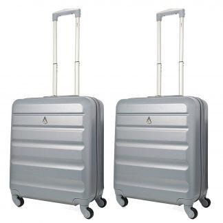 2 x Aerolite Lightweight 56x45x25cm Hard Shell Spinner Case 4 Wheels