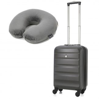 "Aerolite ABS325 Hard Shell Suitcase 21"" Charcoal + Neck Pillow (Grey)"