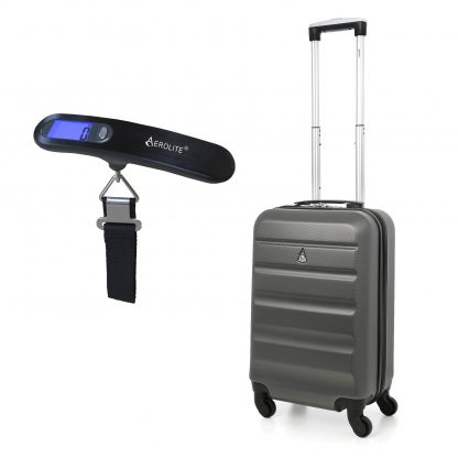Aerolite ABS325 Hard Shell ABS Hand Cabin Suitcase (Charcoal + Scales)