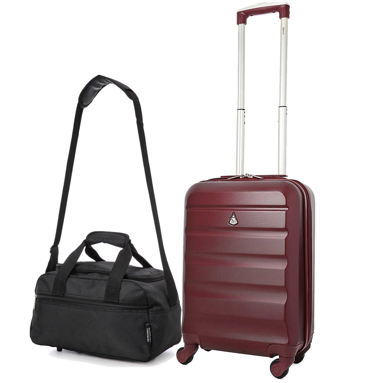 "Aerolite 21"" ABS Hard Shell 4 Wheel Cabin Case Wine + 35x20x20 Black"