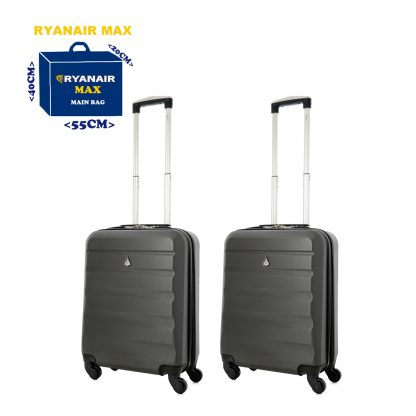 2 x Aerolite Lightweight Hard Shell Spinner Case 55x40x20cm 4 Wheels