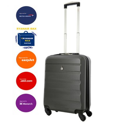 Aerolite 55x40x20cm 4 Wheel ABS Hard Shell Hand Cabin Luggage Suitcase