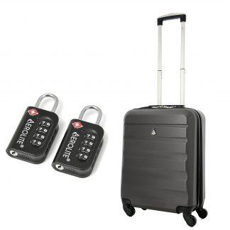 Aerolite 55x40x20cm 4 Wheel ABS Hard Shell Suitcase (CHARCOAL +TSA )