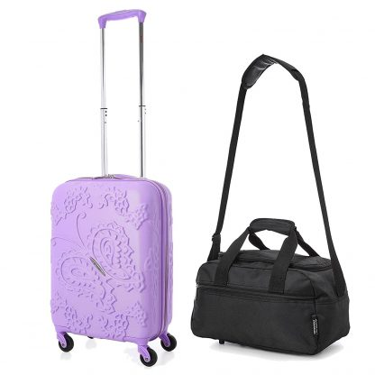 Aerolite Bohemian Butterfly Hard Shell 4 Wheel Suitcase Cabin /2nd Bag