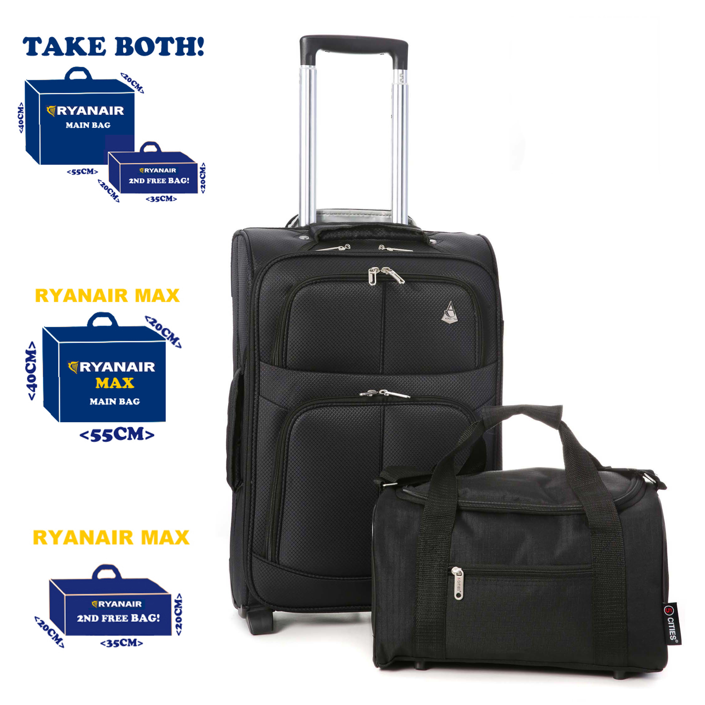Maximum 55x40x20cm & 35x20x20cm Hand Luggage 2 Piece Set Cabin Bags