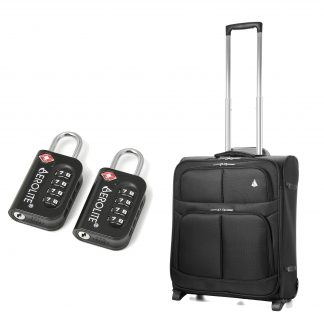 Aerolite 56x45x25cm Lightweight 2 Wheel Suitcase (Black + TSA)