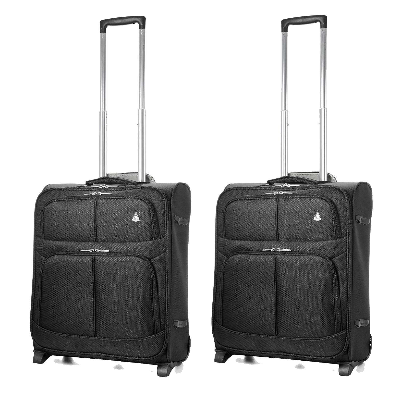 2 x Aerolite Lightweight 2 Wheel Max Cabin Hand Luggage 56 cm 60 Litre
