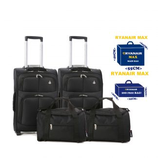 Set of 4 -2 x 55x40x20cm 2 Wheel Suitcases + 2 x 35x20x20cm Cabin Bags