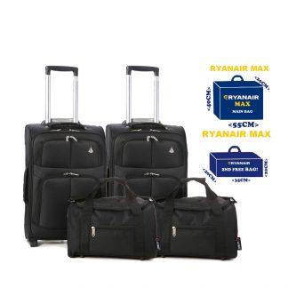 Set of 4 -2 x 55x40x20cm 2 Wheel Suitcases + 2 x 35x20x20cm Cabin Bags