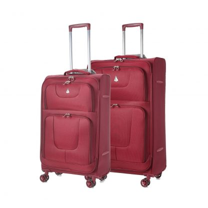 Aerolite Super Lightweight 8 Wheel Spinner Suitcase Cases 26 + 29 Wine