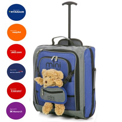 MiniMAX Childrens Suitcase with Backpack and Pouch - With Bear