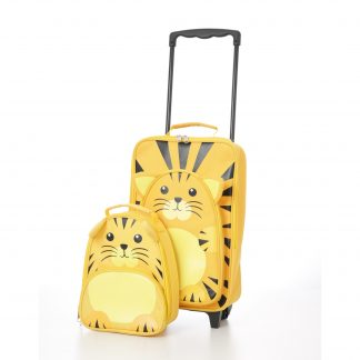 Kids Carry on Suitcase Travel Luggage Tiger Trolley and Backpack Set