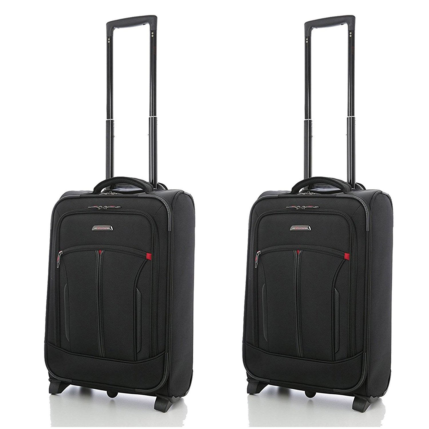 "Aerolite 21""³ Executive Cabin Luggage with Laptop Pocket (2 x Black)"