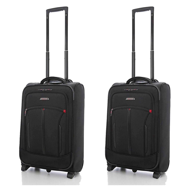 "Aerolite 21""³ Executive Cabin Luggage with Laptop Pocket (2 x Black)"