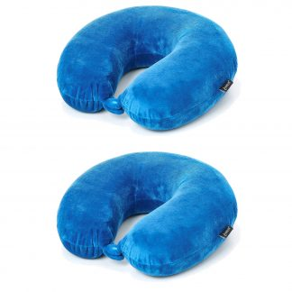 2 x Aerolite Travel Pillow Neck Support Soft Memory Foam Cushion