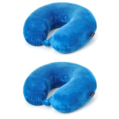 2 x Aerolite Travel Pillow Neck Support Soft Memory Foam Cushion