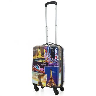 5 Cities 4 Wheel Hard Shell Polycarbonate Suitcase with 3-Digit Lock