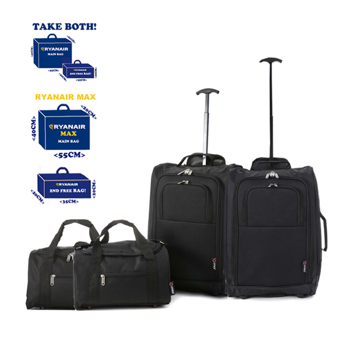 4-Piece Luggage Set - 2 Cabin Approved Trolley Bags & 2 Second Bags