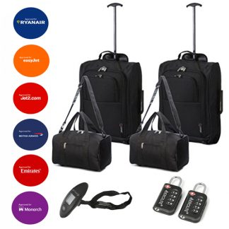 "2 x 5 Cities 21"" 2 Wheel Cabin Bag & 2 x Holdalls"