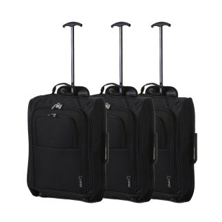 "Set of 3 21""/55cm 5 Cities Black Carry On Lightweight Trolley Bag"