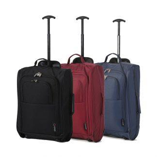 "Set of 3 21""/55cm 5 Cities Black Lightweight Luggage Black/Wine/Navy"