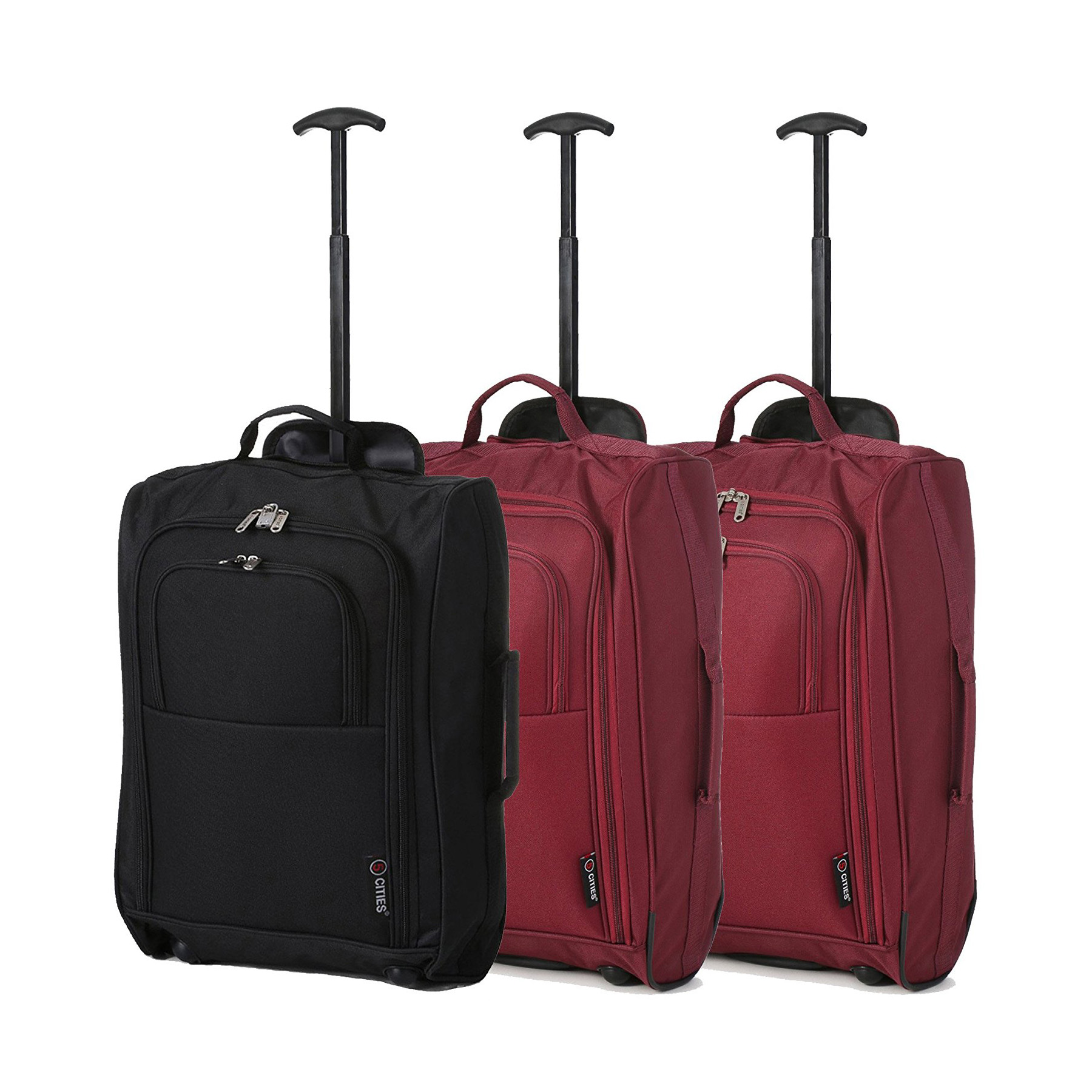 "Set of 3 21""/55cm 5 Cities Lightweight Trolley Bags(Black / Wine x 2)"