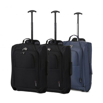 "Set of 3 21""/55cm 5 Cities Lightweight Trolley Bags(Black x 2 / Navy)"