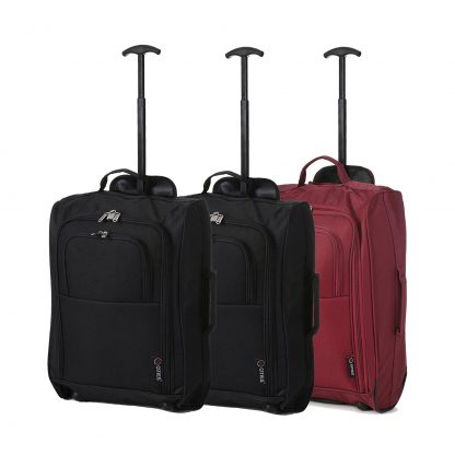 "Set of 3 21""/55cm 5 Cities Lightweight Trolley Bags(Black x 2 / Wine)"