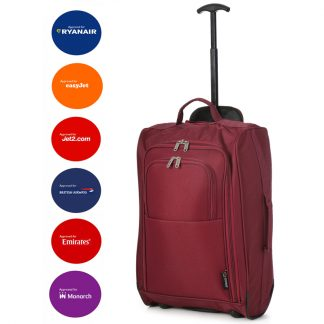 "5 Cities 21"" 2 Wheel Cabin Hand Luggage Trolley Bag Fits 55x40x20cm"