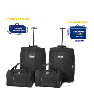 Set of 4 - 2 x 55x40x20cm Trolley Bag + 2 x 35x20x20cm 2nd Cabin Bag