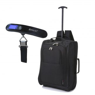 5 Cities 55cm IATA Cabin Hand Luggage Trolley Backpack Black + Scales