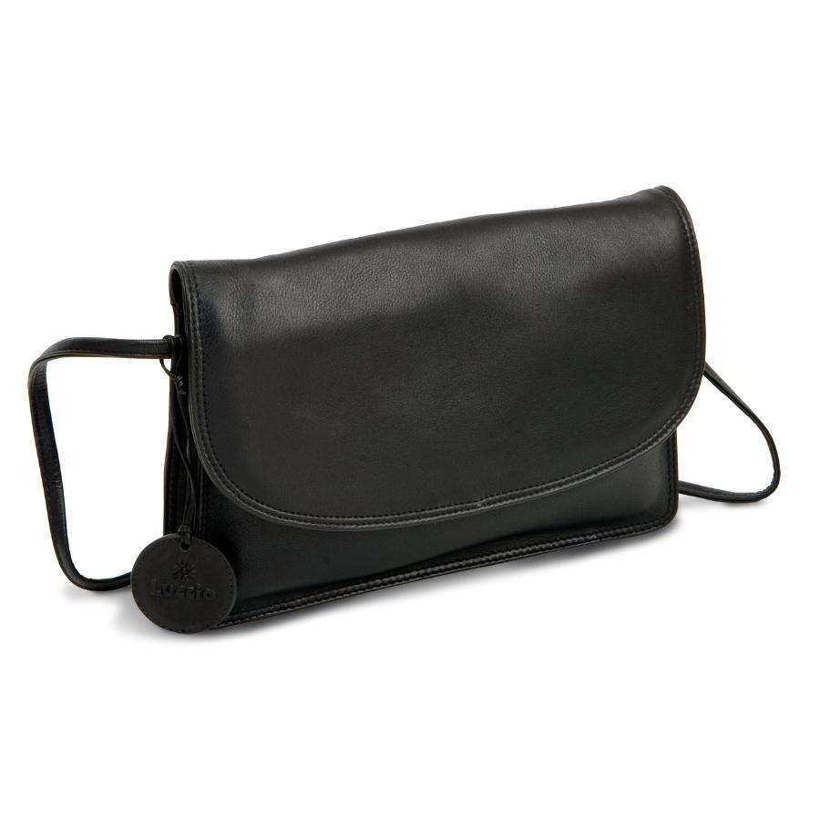 LUCCIO Ladies Black Leather Grab Bag with Strap BMB003BLK