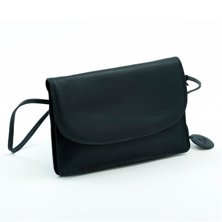 LUCCIO Ladies Navy Leather Grab Bag with Strap BMB003NVY