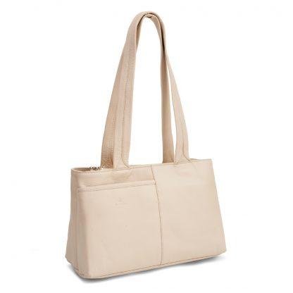 LUCCIO Ladies Cream Leather Grab Bag BMB005CRM