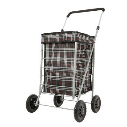 Hoppa 4 Wheel Folding Shopping Trolley on Wheels Tubular Steel Petit