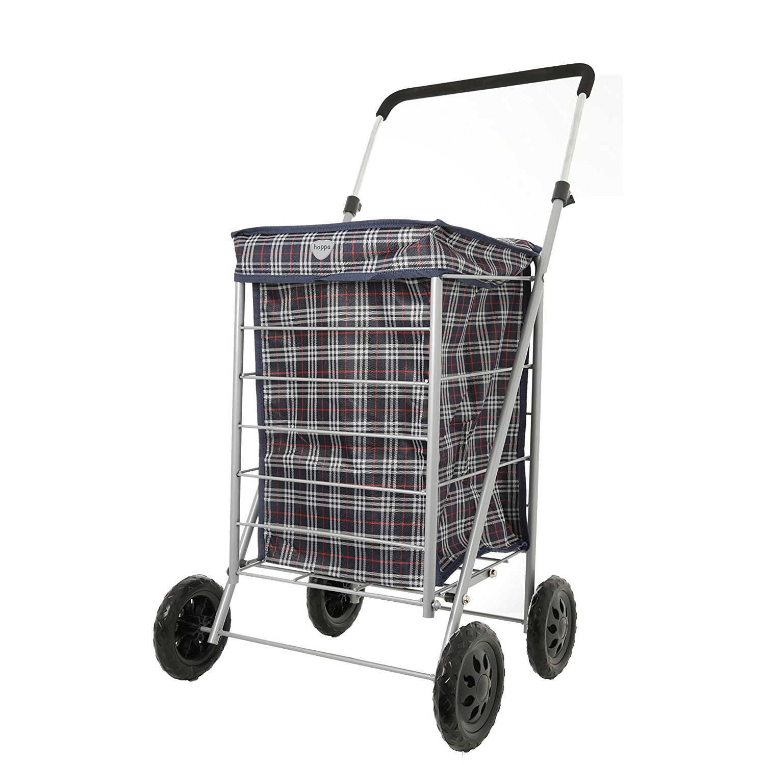 Hoppa 4 Wheel Folding Shopping Trolley on Wheels Tubular Steel Petit